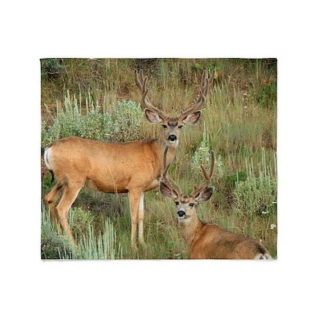 Mule deer velvet Throw Blanket