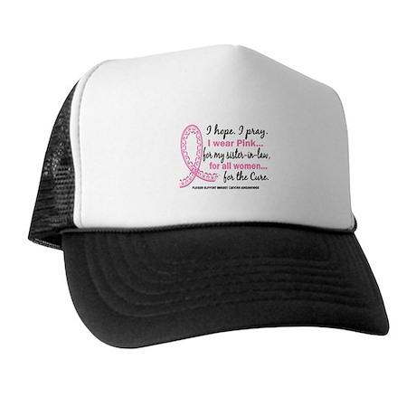 Hope Pray Wear Pink Breast Cancer Trucker Hat