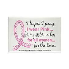 Hope Pray Wear Pink Breast Cancer Rectangle Magnet