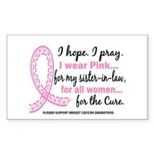 Hope Pray Wear Pink Breast Cancer Decal