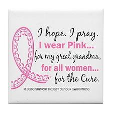 Hope Pray Wear Pink Breast Cancer Tile Coaster