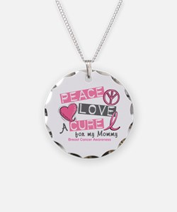 Peace Love A Cure For Breast Cancer Necklace Circl
