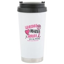 Peace Love A Cure For Breast Cancer Travel Mug