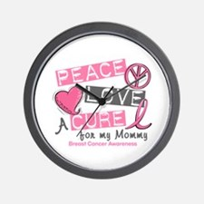 Peace Love A Cure For Breast Cancer Wall Clock