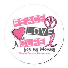 Peace Love A Cure For Breast Cancer Round Car Magn