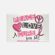 Peace Love A Cure For Breast Cancer Rectangle Magn