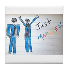 gay couple men just married Tile Coaster