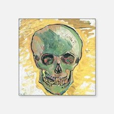 "Vincent Van Gogh Skull Square Sticker 3"" x 3"""