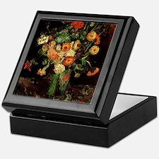 Vase with Zinnias and Geraniums Keepsake Box