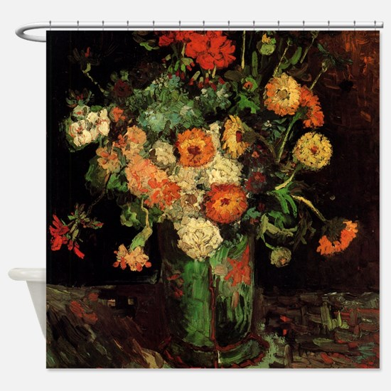 Vase with Zinnias and Geraniums Shower Curtain
