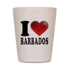 I Heart Barbados Shot Glass