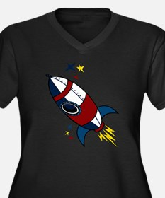 Rocket Women's Plus Size V-Neck Dark T-Shirt