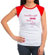 Runner Chick Fitted Tee Women's Cap Sleeve T-Shirt
