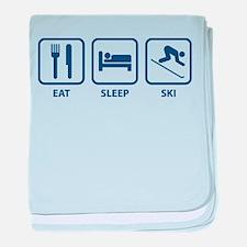 Eat Sleep Ski baby blanket