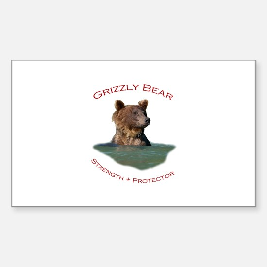 Grizzly Bear Sticker (Rectangle)