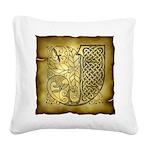Celtic Letter J Square Canvas Pillow