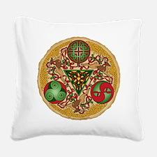 Celtic Reindeer Shield Square Canvas Pillow