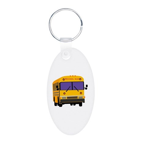 Bus Aluminum Oval Keychain