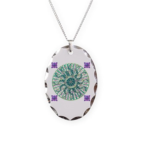 Sun Flower of Life Necklace Oval Charm