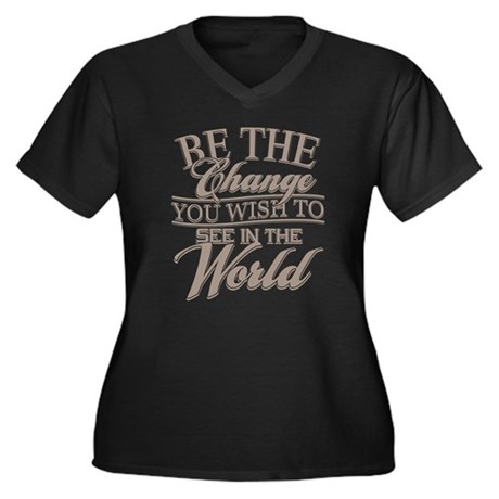Be The Chang Women's Plus Size V-Neck Dark T-Shirt