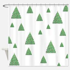 Celtic Christmas Trees Shower Curtain