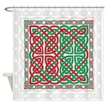 Red and Green Celtic Knotwork Shower Curtain