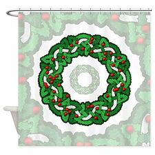 Celtic Holly Wreath Shower Curtain