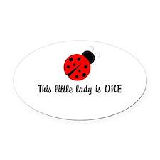 First Birthday Ladybug Oval Car Magnet