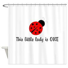 First Birthday Ladybug Shower Curtain