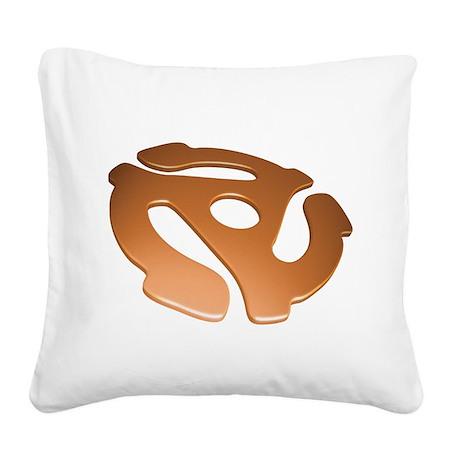 Orange 3D 45 RPM Adapter Square Canvas Pillow