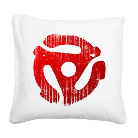 Distressed Red 45 RPM Adap Square Canvas Pillow