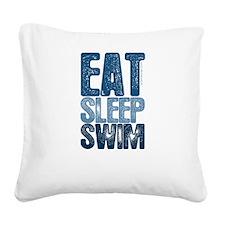 EAT SLEEP SWIM Square Canvas Pillow