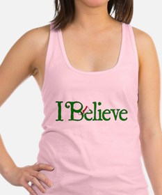 I Believe with Santa Hat Racerback Tank Top