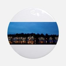 Boathouse Row, Nighttime Panoramic Ornament (Round