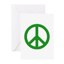 Green Peace sign Greeting Cards (Pk of 20)