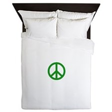 Green Peace sign Queen Duvet