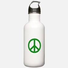 Green Peace sign Water Bottle
