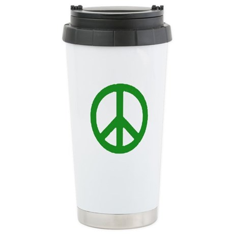 Green Peace sign Stainless Steel Travel Mug