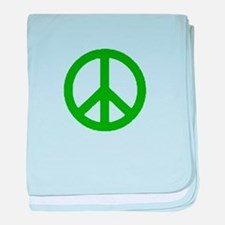 Green Peace sign baby blanket