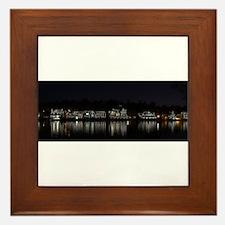 Boathouse Row Night Panoramic Framed Tile