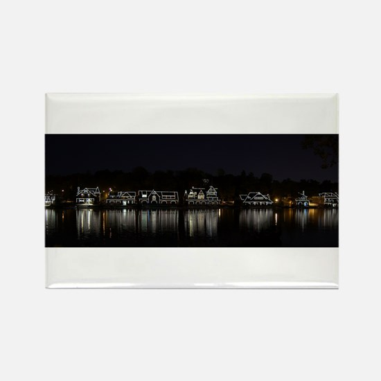 Boathouse Row Night Panoramic Rectangle Magnet