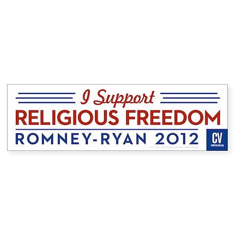 I Support Religious Freedom Bumper Sticker