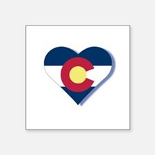 "Colorado Flag Heart Square Sticker 3"" x 3"""