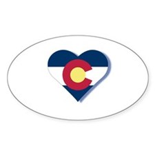 Colorado Flag Heart Bumper Stickers
