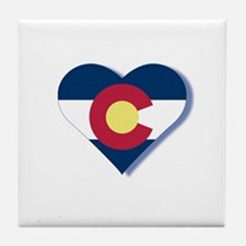 Colorado Flag Heart Tile Coaster