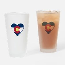 Colorado Flag Heart Drinking Glass
