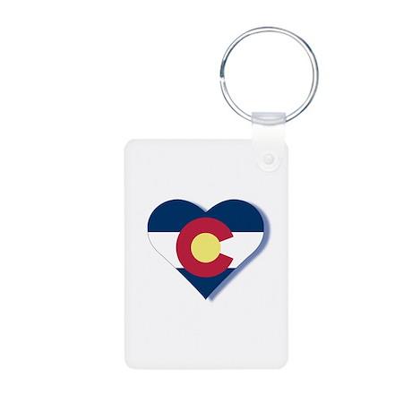 Colorado Flag Heart Aluminum Photo Keychain