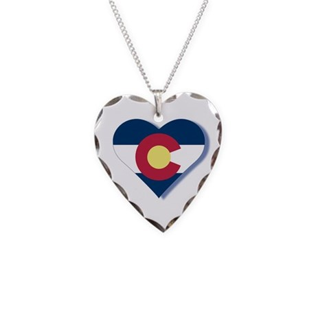Colorado Flag Heart Necklace Heart Charm