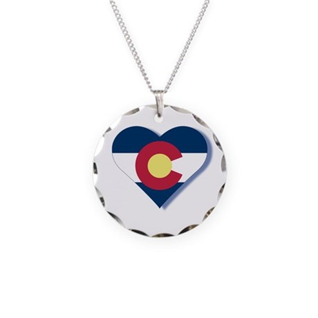 Colorado Flag Heart Necklace Circle Charm