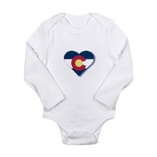Colorado Flag Heart Long Sleeve Infant Bodysuit